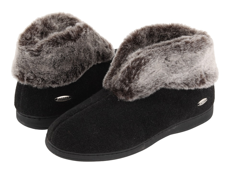 Acorn - Faux Chinchilla Bootie II (Black) Womens  Boots