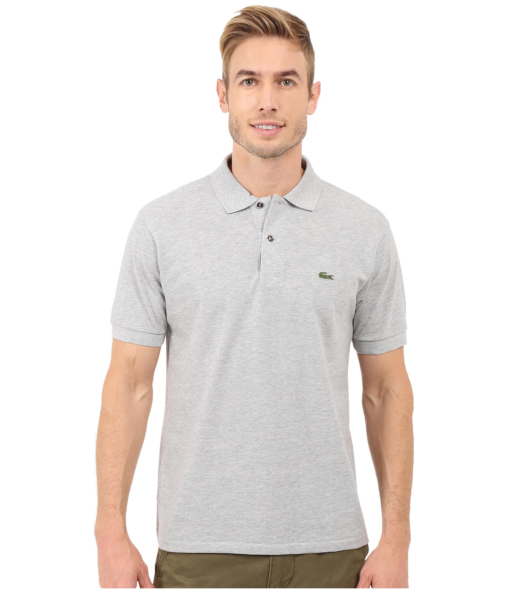 Lacoste short sleeve original heathered pique polo at for Short sleeve lacoste shirt