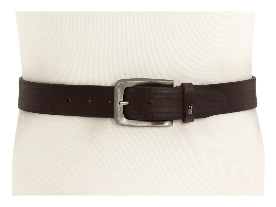John Varvatos 38mm Strap with Leather Covered Hand Stitch Brown LeatherNickel Mens Belts