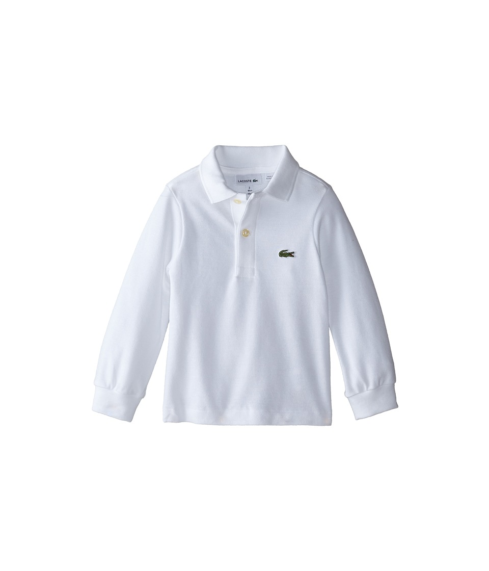 Lacoste Kids Long Sleeve Classic Pique Polo Shirt ToddlerLittle KidsBig Kids White Boys Long Sleeve Pullover