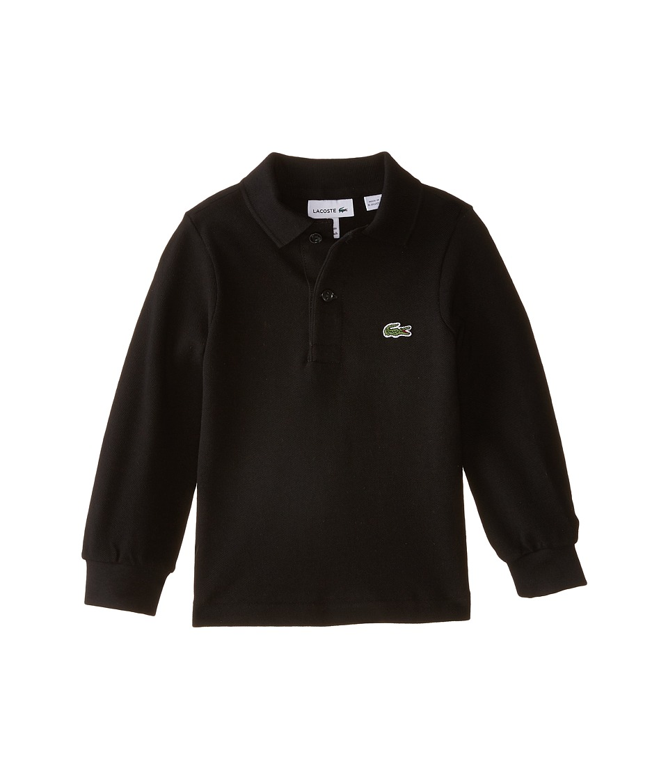Lacoste Kids Long Sleeve Classic Pique Polo Shirt ToddlerLittle KidsBig Kids Black Boys Long Sleeve Pullover