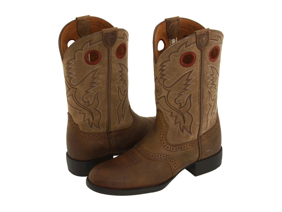 Ariat Kids Heritage Stockman Toddler/Little Kid/Big Kid Distresed Brown/Brown Bomber Cowboy Boots