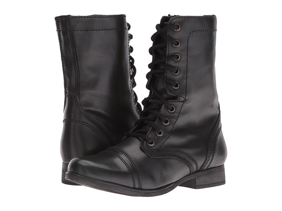 Steve Madden - Troopa Combat Boot (Black Leather) Womens Lace up casual Shoes