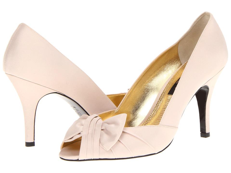 Nina - Forbes Powder Sand Luster Satin Womens Slip-on Dress Shoes $78.95 AT vintagedancer.com
