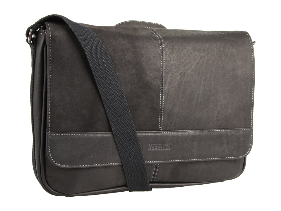 Kenneth Cole Reaction - 'Risky Business' Single Gusset Messenger Bag (Black) Messenger Bags