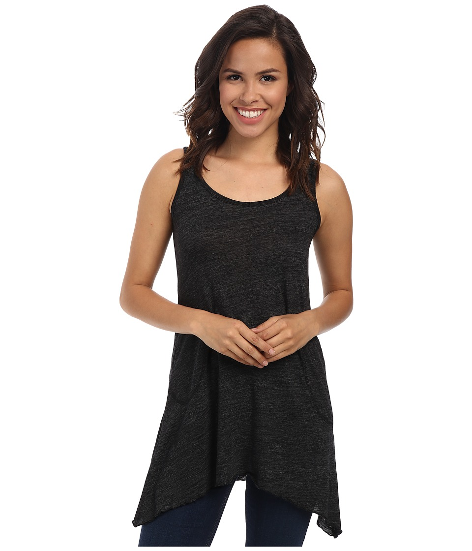 Allen Allen Scoop Neck Angled Tunic (Black) Women
