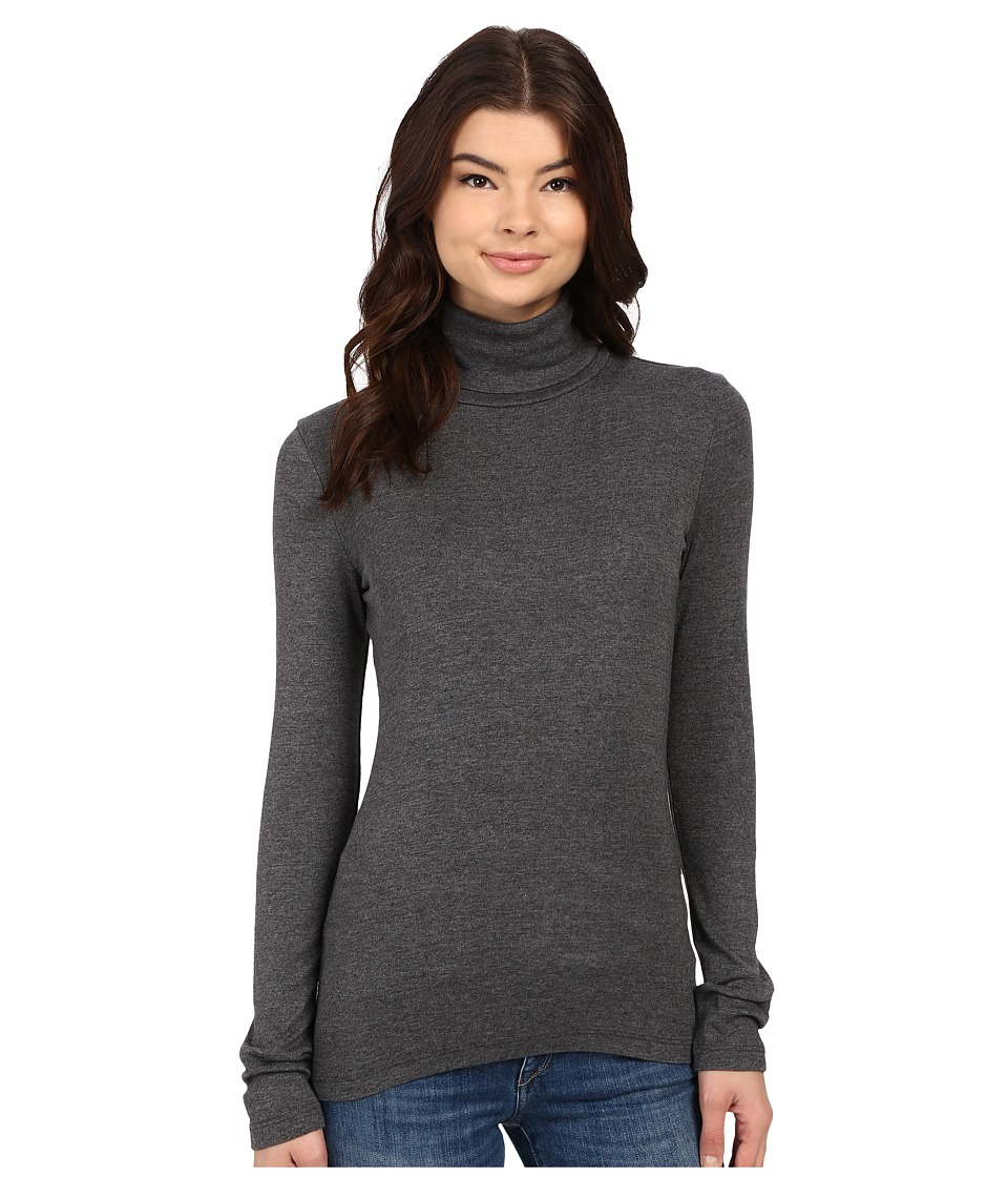 Splendid 1x1 Long Sleeve Turtleneck (Charcoal) Women