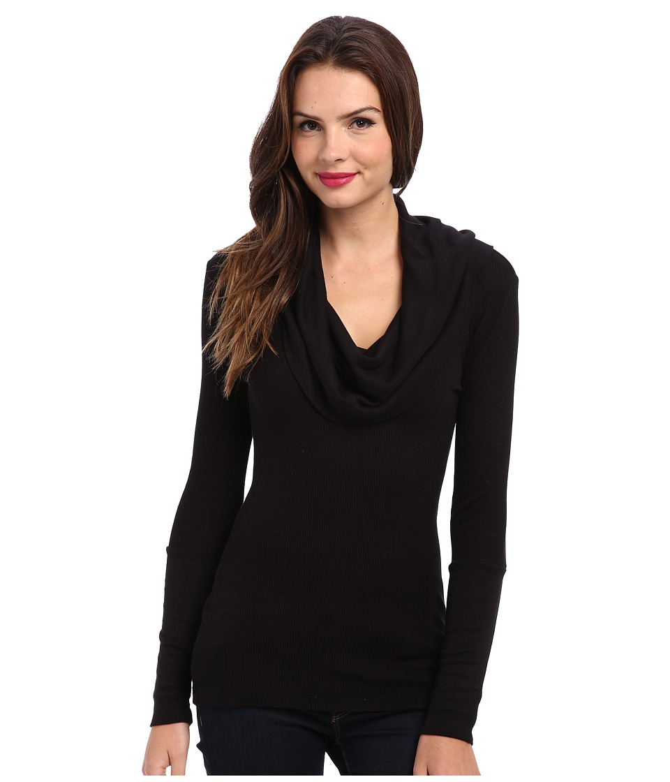 Splendid - Thermal L/S Cowl Neck Tunic (Black) Womens Long Sleeve Pullover