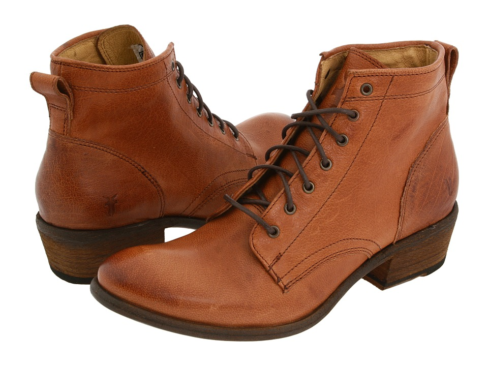 Frye - Carson Lace Up Cognac Soft Leather Cowboy Boots $288.00 AT vintagedancer.com