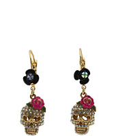 Betsey Johnson - Betsey Vampire Crystal Skull Earrings