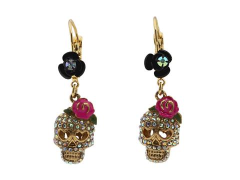 Betsey Johnson Betsey Vampire Crystal Skull Earrings