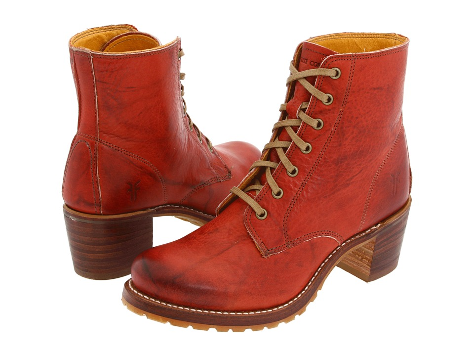 Frye Sabrina 6G Lace Up (Burnt Red) Women's Lace-up Boots
