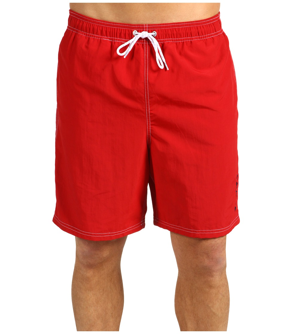 Nautica Solid Nylon Boardshort Racer Red Mens Swimwear