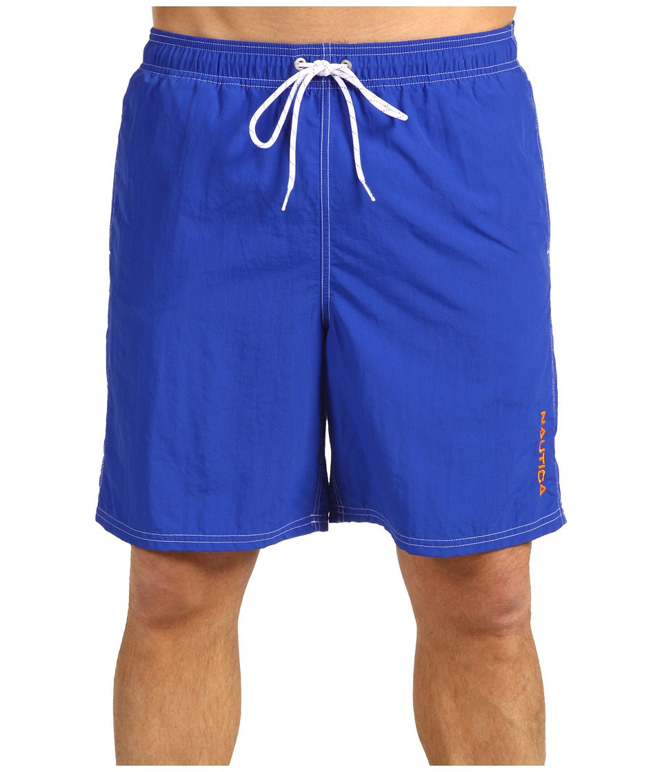 Nautica Solid Nylon Boardshort Bright Cobalt Mens Swimwear