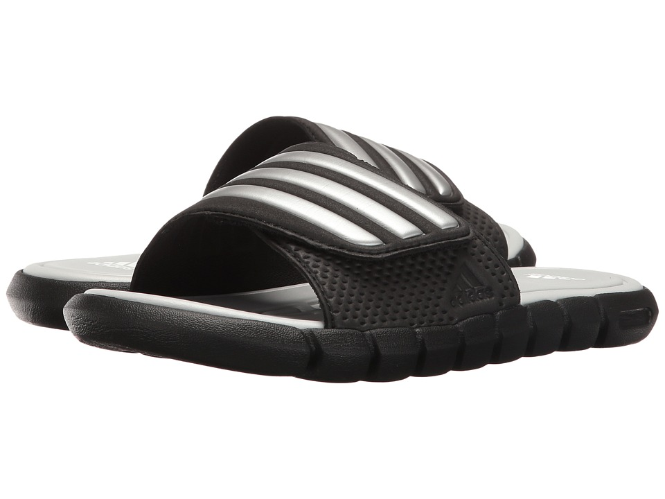 adidas Kids Adi-lite Slide UltraFOAM+ xJ (Little Kid/Big Kid) (Black/Metallic Silver/Light Grey) Kids Shoes