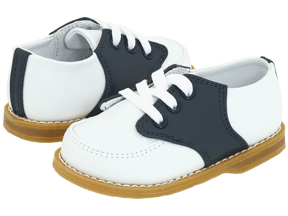 1940s Children's Clothing: Girls, Boys, Baby, Toddler Baby Deer - Conner Toddler White And Navy Saddle Leather Boys Shoes $48.00 AT vintagedancer.com