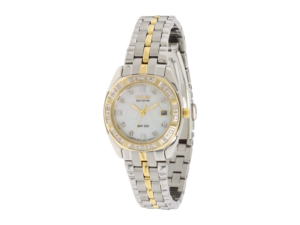Citizen Watches - EW1594-55D Eco Drive Two-Tone Watch (Two-Tone/Mother Of Pearl) Analog Watches