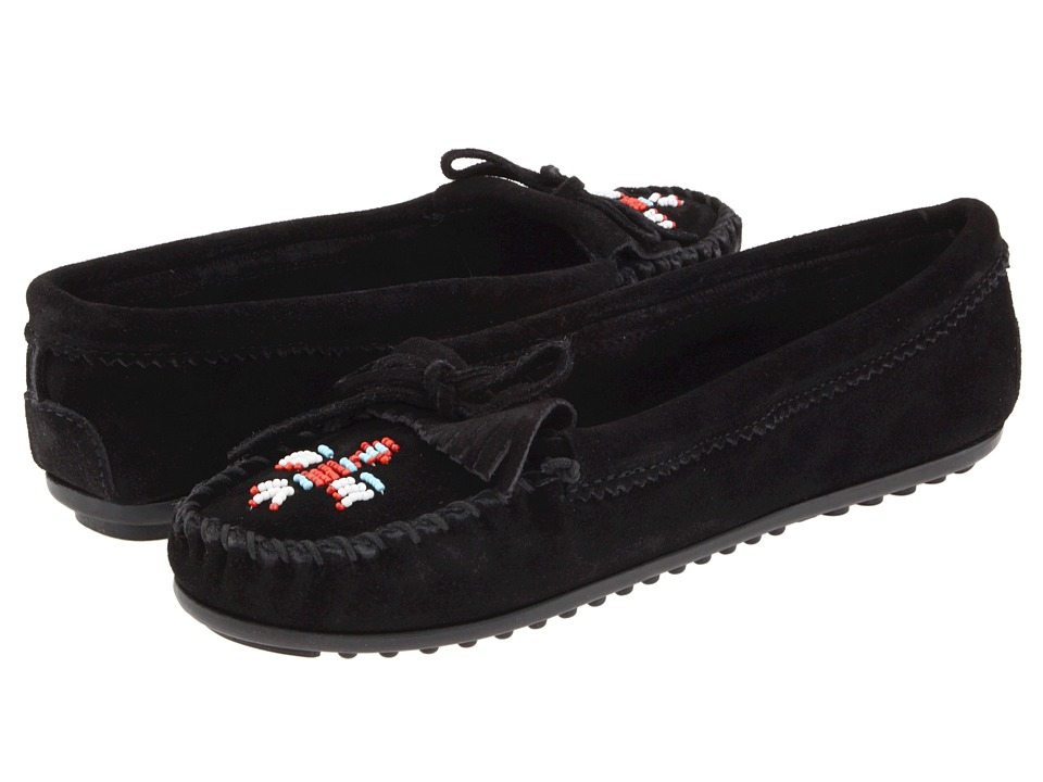 Minnetonka - Thunderbird II (Black Suede) Womens Moccasin Shoes