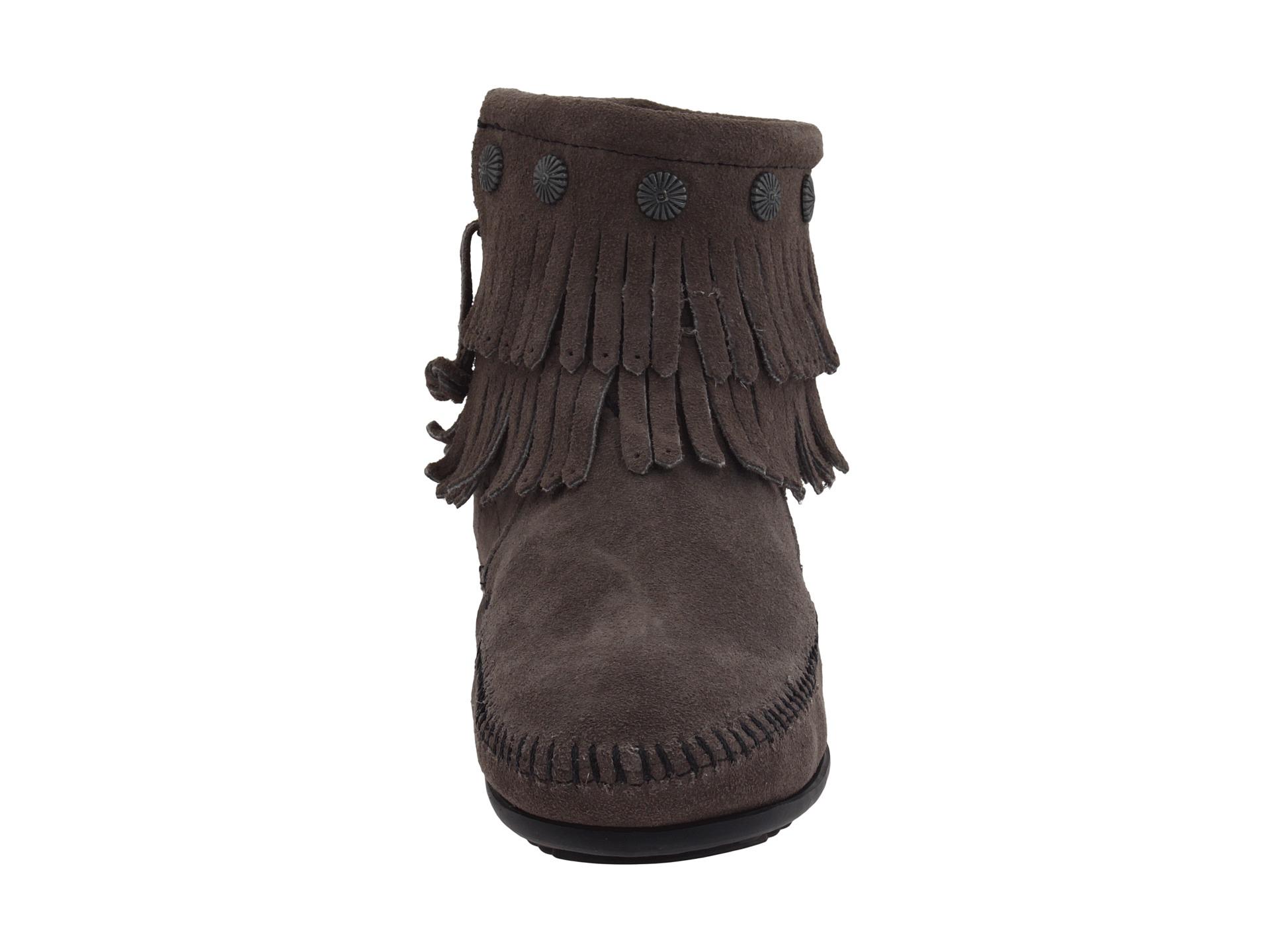 Minnetonka Double Fringe Side Zip Boot At Zappos Com