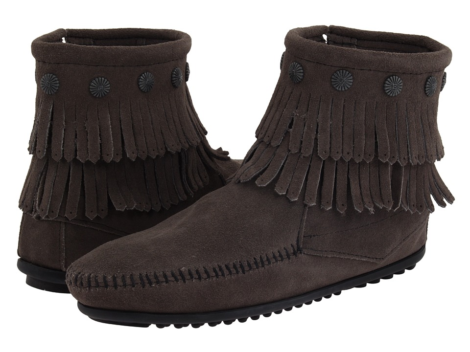 Minnetonka - Double Fringe Side Zip Boot (Grey Suede) Women