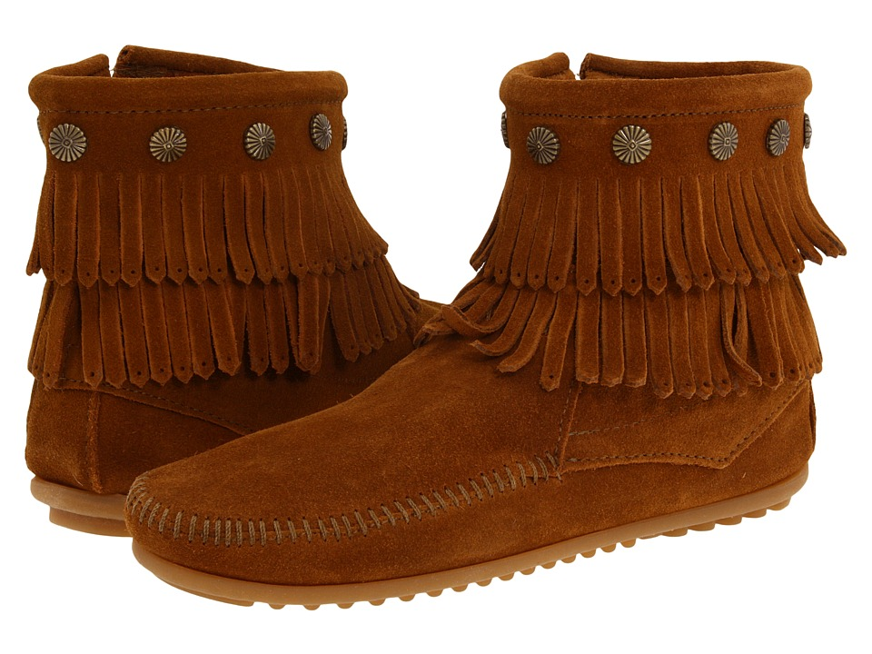 Minnetonka Double Fringe Side Zip Boot (Brown Suede) Women