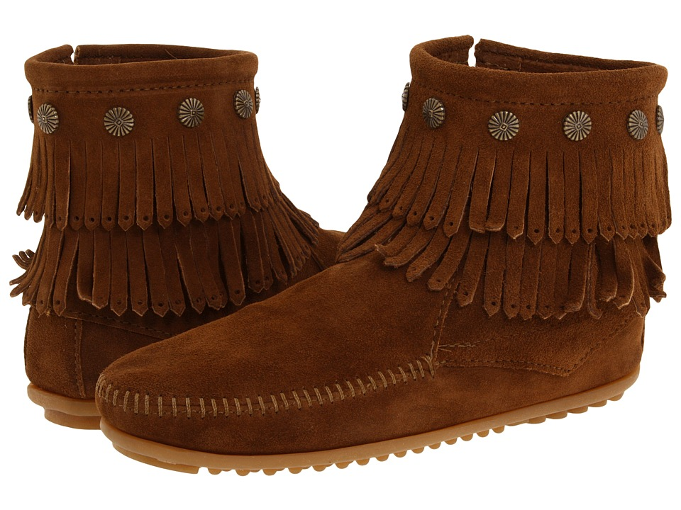 Minnetonka - Double Fringe Side Zip Boot (Dusty Brown Suede) Women