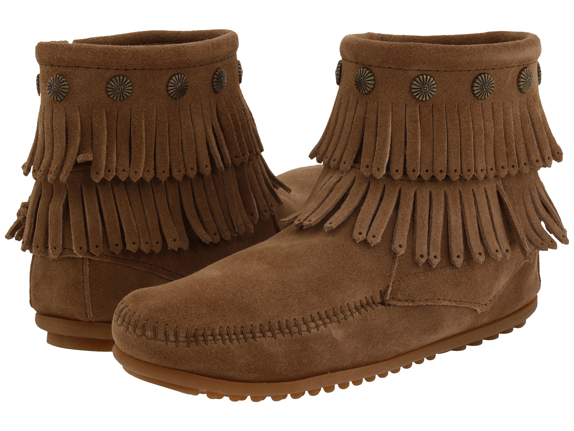 Minnetonka Double Fringe Side Zip Boot Taupe Suede