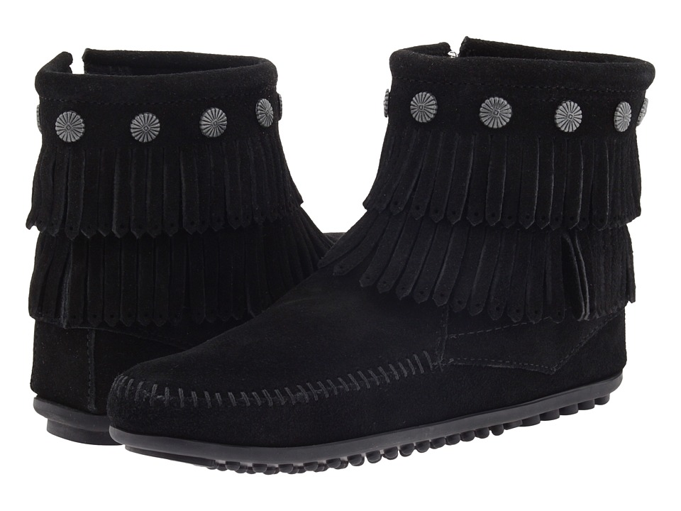 Minnetonka Double Fringe Side Zip Boot (Black Suede) Women
