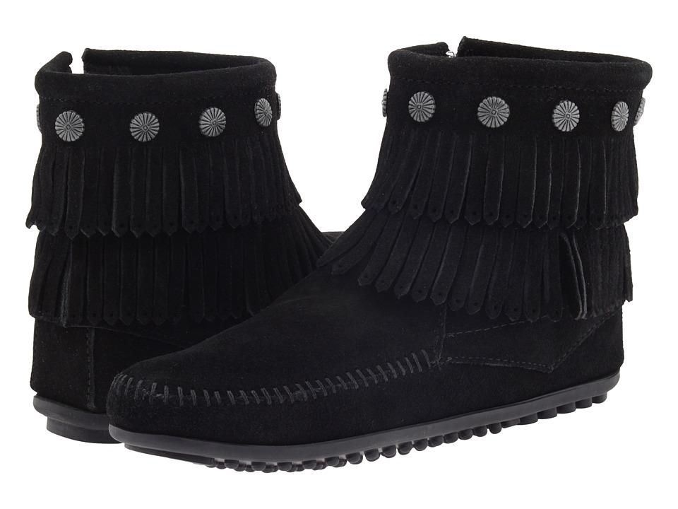 Minnetonka Double Fringe Side Zip Boot (Black Suede)