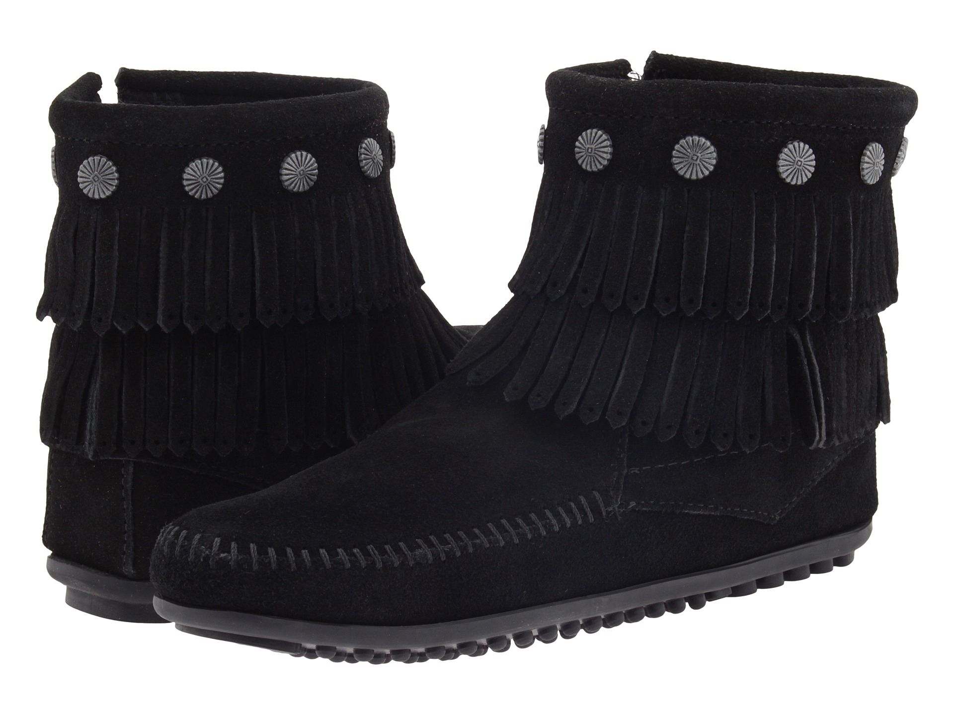 Minnetonka Double Fringe Side Zip Boot - Zappos.com Free Shipping ...
