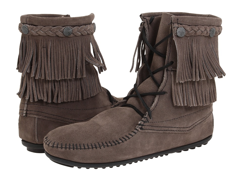 Minnetonka - Double Fringe Front Lace Boot (Grey/Brown/White) Women