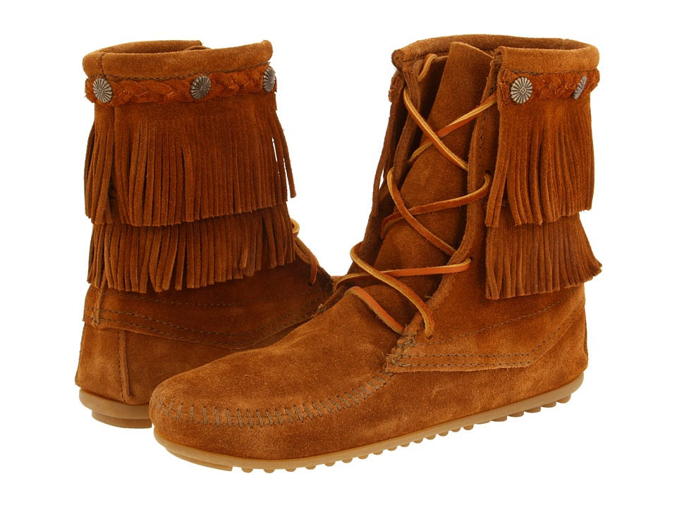 Minnetonka Double Fringe Front Lace Boot (Brown Suede) Women