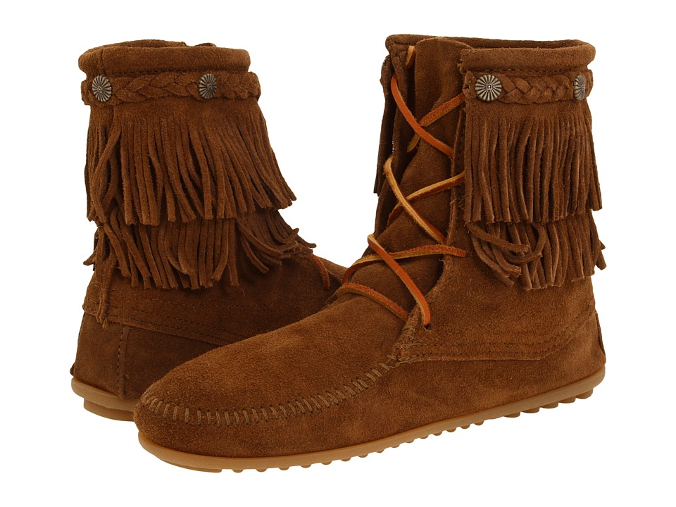 Minnetonka Double Fringe Front Lace Boot (Dusty Brown Suede) Women