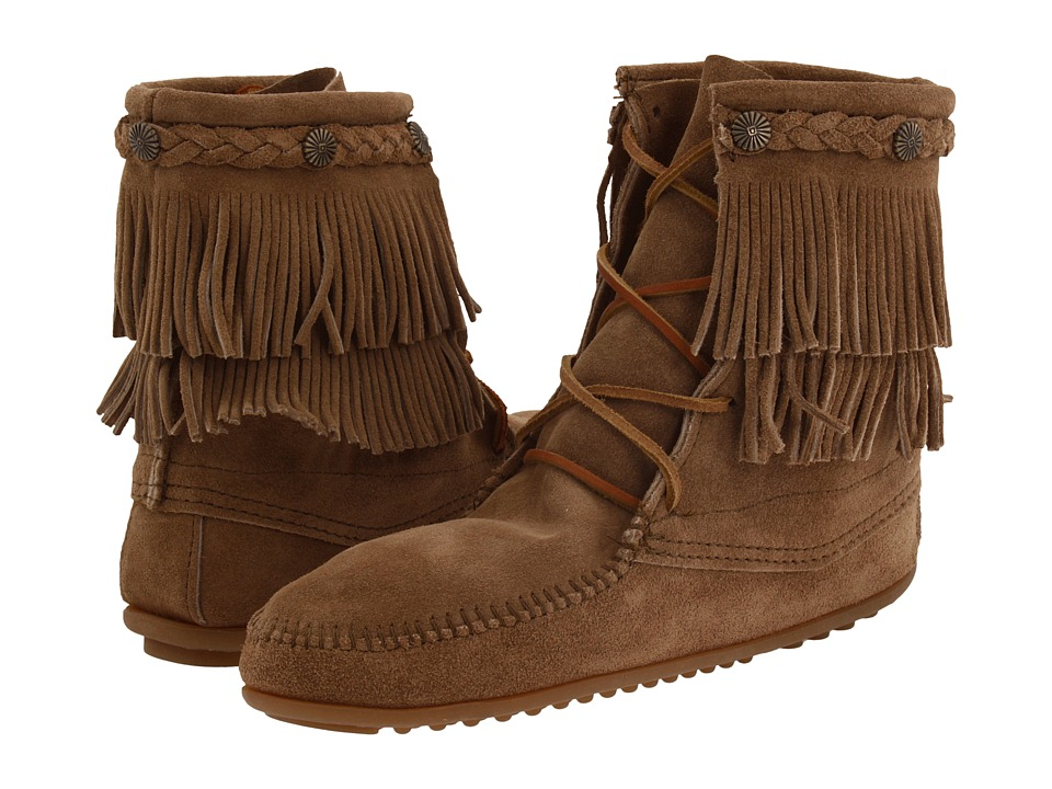 Minnetonka Double Fringe Front Lace Boot (Taupe Suede) Women