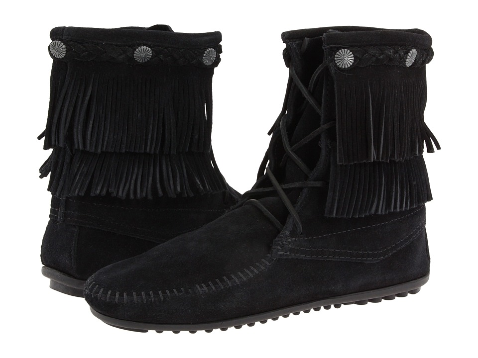 Minnetonka Double Fringe Front Lace Boot (Black Suede) Women