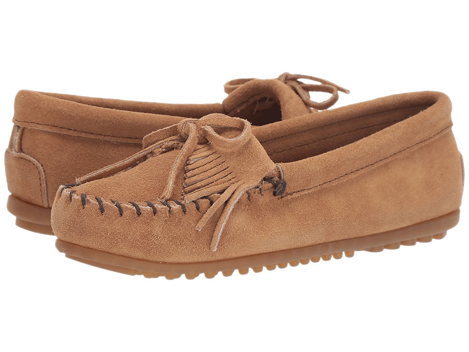 Minnetonka Kilty Suede Moc Taupe Suede Womens Moccasin Shoes