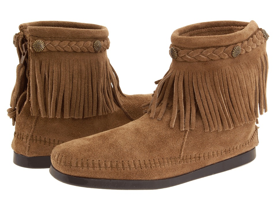Minnetonka Hi-Top Back Zip Boot (Taupe Suede) Women
