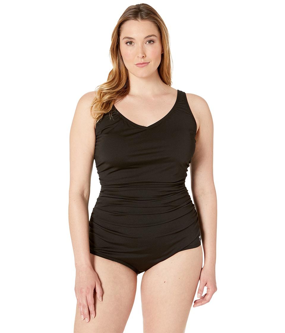 Speedo - Plus Size Side Shirred Tank One Piece (Black) Womens Swimwear