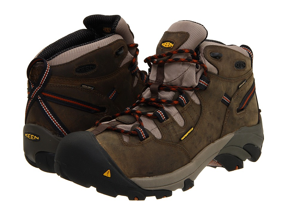 Keen Utility - Detroit Mid Soft Toe (Black Olive/Leather Brown) Mens Work Boots