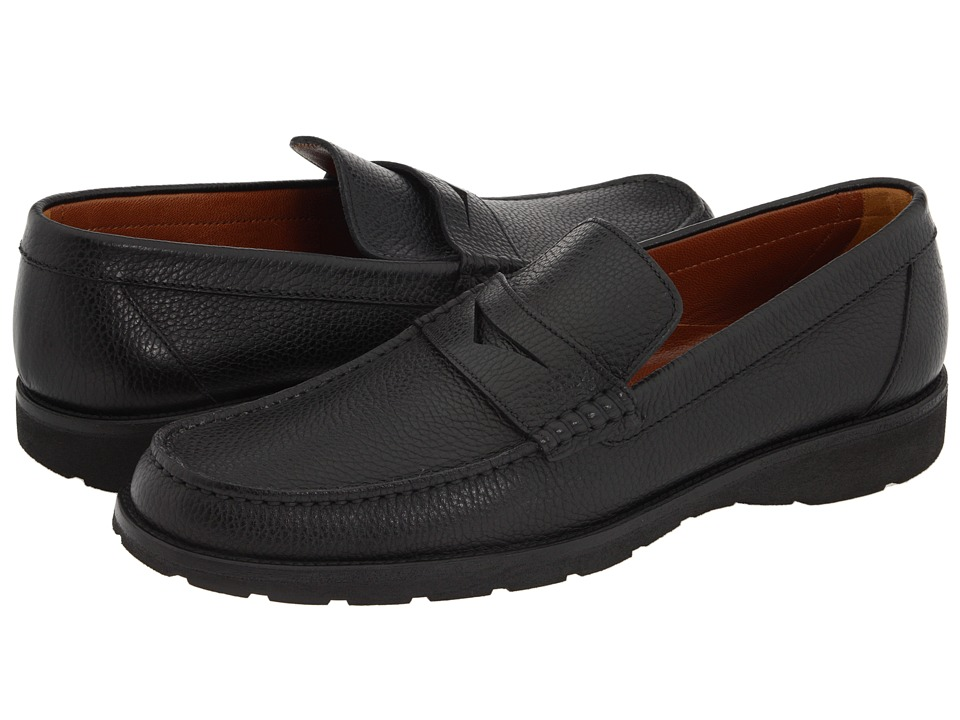 a. testoni - Penny Loafer Moccasin (Nero) Mens Slip on  Shoes