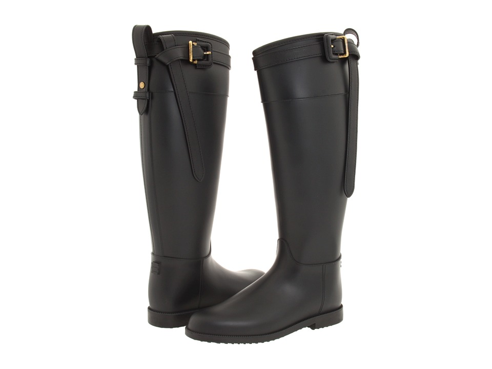 Burberry - Black Equestrian Buckle Strap Rainboot (Black) Women