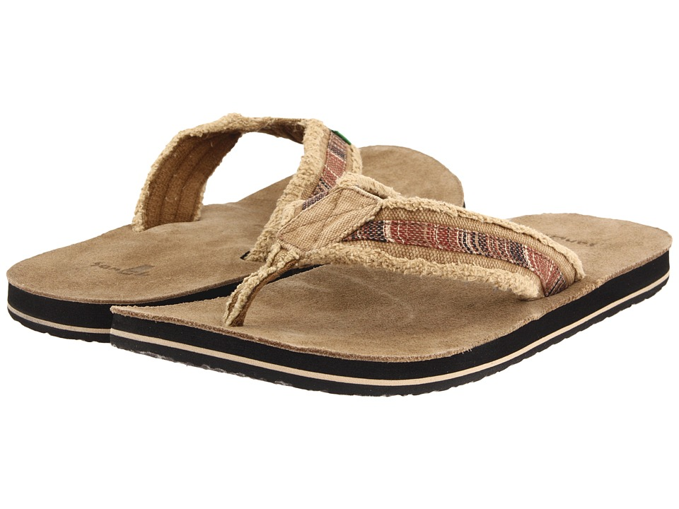 Sanuk Fraid So Red/Brown Mens Toe Open Shoes