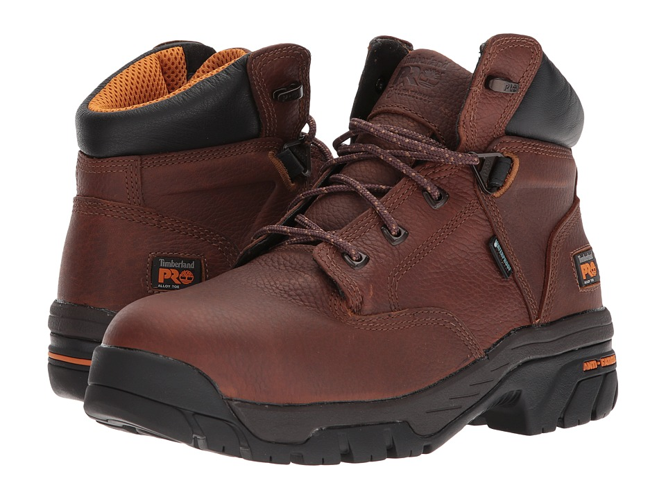 Timberland PRO Helix 6 Waterproof Safety Toe (Brown Full-Grain Leather) Men