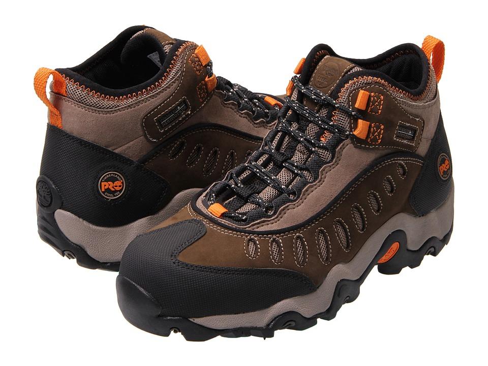Timberland PRO - Mudslinger Mid Waterproof Steel Toe (Brown Nubuck Leather) Mens Work Boots