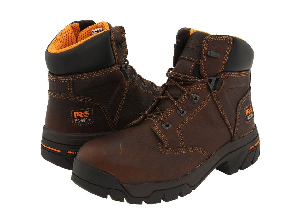 Timberland PRO - Helix 6 Anti-Fatigue and Safety Toe (Brown Full-Grain Leather) Men