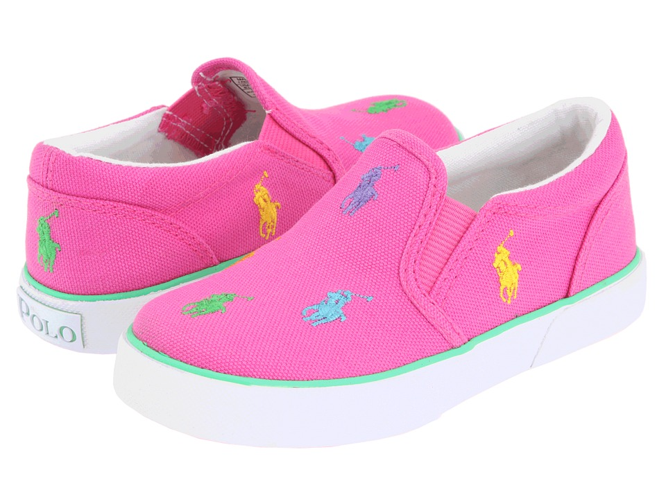 Polo Ralph Lauren Kids - Bal Harbour Repeat (Toddler) (Fuchsia/Multi Canvas) Girls Shoes