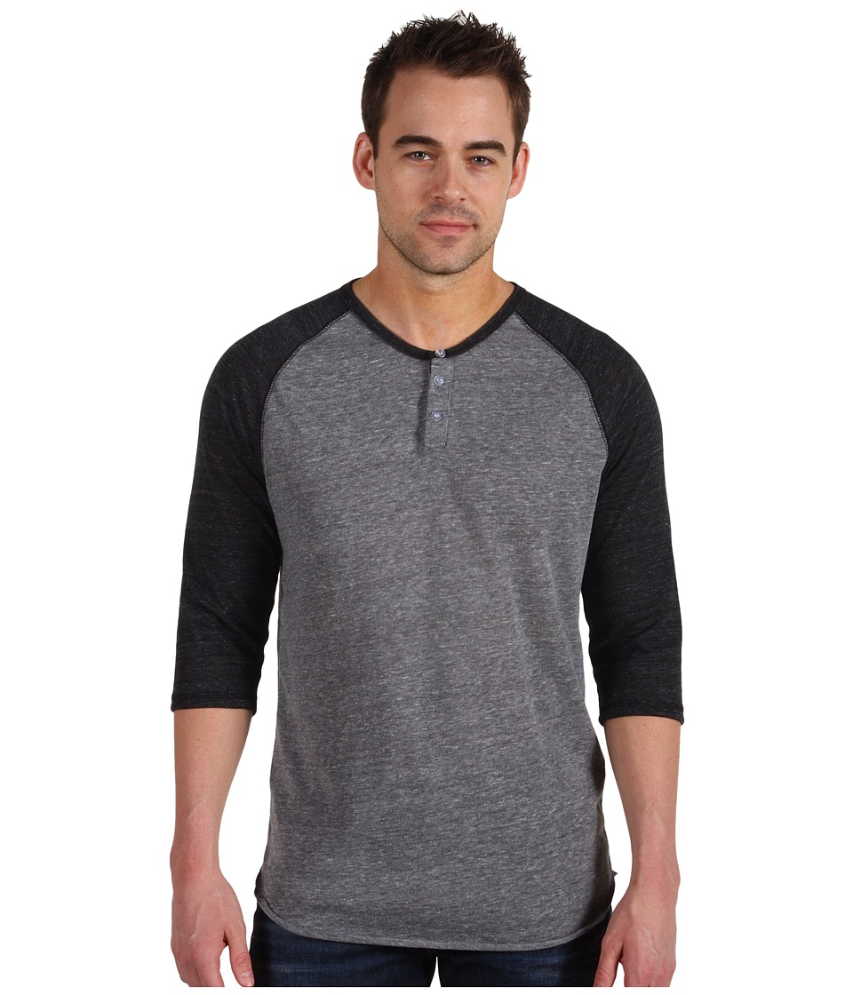 Alternative 3/4 Raglan Henley Eco Grey/Eco Black Mens Long Sleeve Pullover