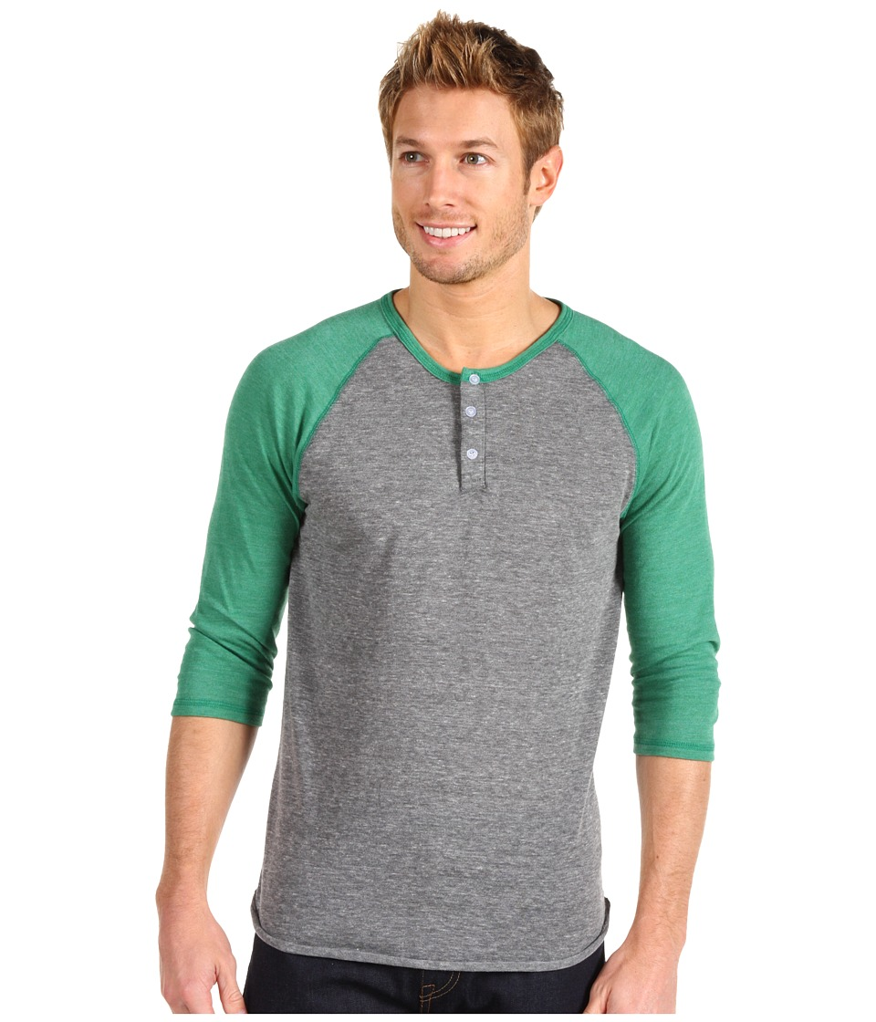 Alternative 3/4 Raglan Henley Eco Grey/Eco True Green Mens Long Sleeve Pullover