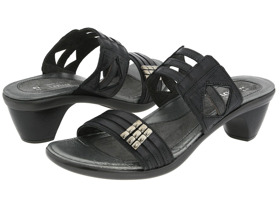 Naot Footwear Afrodita Jet Black/Black Gloss/Black Pearl Leather Womens Sandals