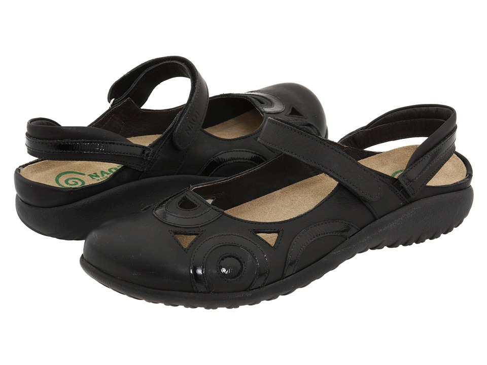 Naot Rongo (Jet Black/Black Patent Leather) Women's Hook ...